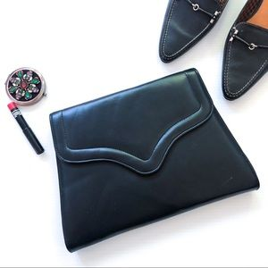 Vintage Navy Smooth Leather Clutch / Purse
